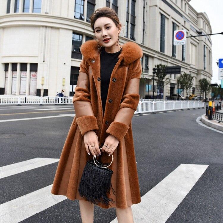2018 mulheres de couro e casaco de pele longo com pele de raposa naturais casaco com capuz de pele quente tamanho grande casaco longo de pele de carneiro genuína de couro outwear