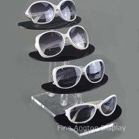 Deluxe 4 Tier Şeffaf ve Siyah Akrilik Güneş Gözlüğü Gözlükler Ekran Standı Tutucu Gözlük Göster Raf Takı Ürün Perakende Standı