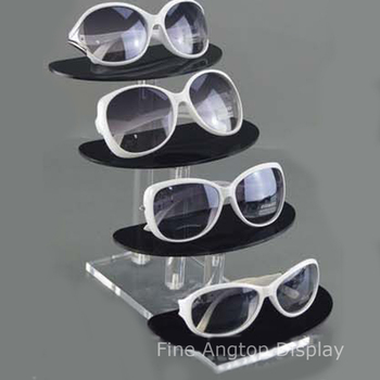 Deluxe 4 Tier Clear and Black Acrylic Sunglasses Eyeglasses Display Stand Holder Eyewear Show Rack Jewelry Product Retail Stand 5 tier desktop acrylic step display stand holder for small toys