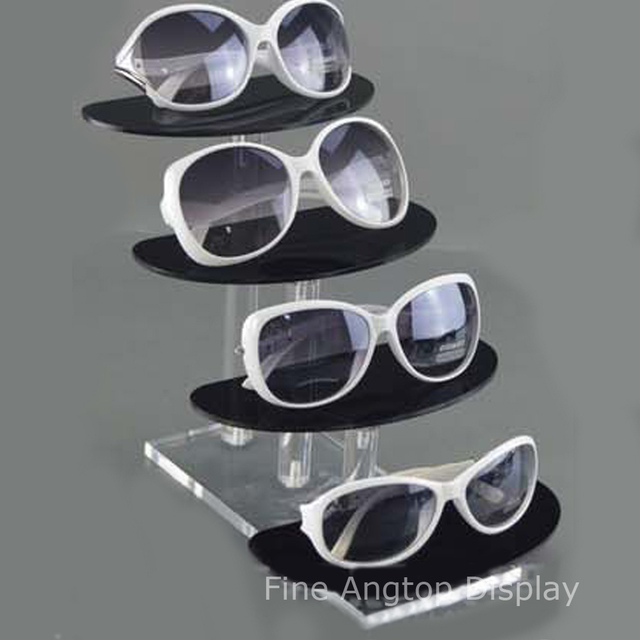 40cd3e25f Deluxe 4 Tier Clear and Black Acrylic Sunglasses Eyeglasses Display Stand  Holder Eyewear Show Rack Jewelry Product Retail Stand