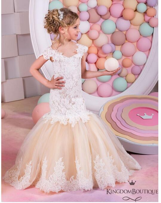 Girls Formal Dress 2017 Flower Girls Princess Dresses Kids Lace Off-Shoulder Fishtail Party Ball Gown Children's Wedding Dress girls formal dresses 2018 strapless flower girls dress off shoulder kids party gauze birthday ball gown children s wedding dress
