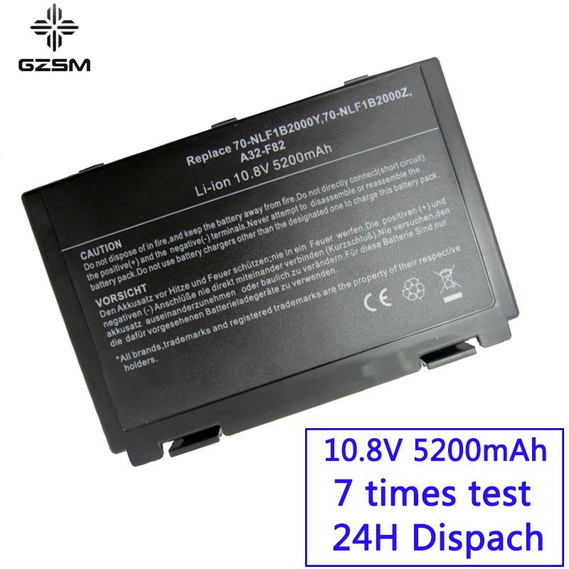 GZSM batterie d'ordinateur portable F82 pour Asus k50ij k50ab batterie pour ordinateur portable k40in k50in F52 K40 K50 A32-F52 A32-F82 X70 X87 X8A X8S batterie