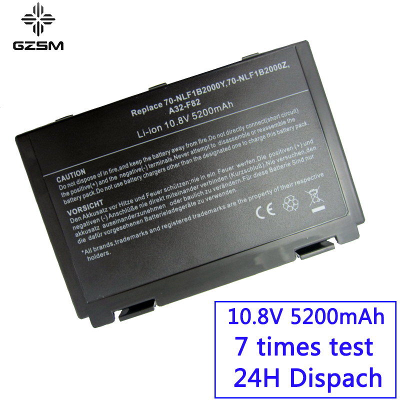 GZSM Laptop Battery F82 For Asus K50ij K50ab Battery For Laptop K40in K50in F52  K40 K50 A32-F52 A32-F82 X70 X87 X8A X8S Battery
