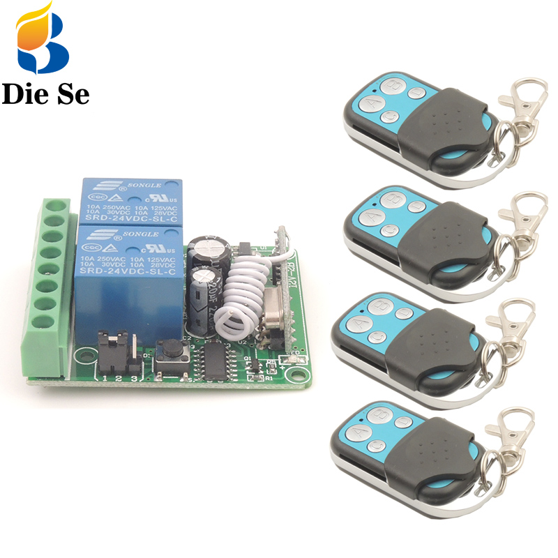 Remote Control 433Mhz DC12V 10A 2CH rf Switch Relay Receiver and Transmitter for Garage Remote Control and Remote Light Switch
