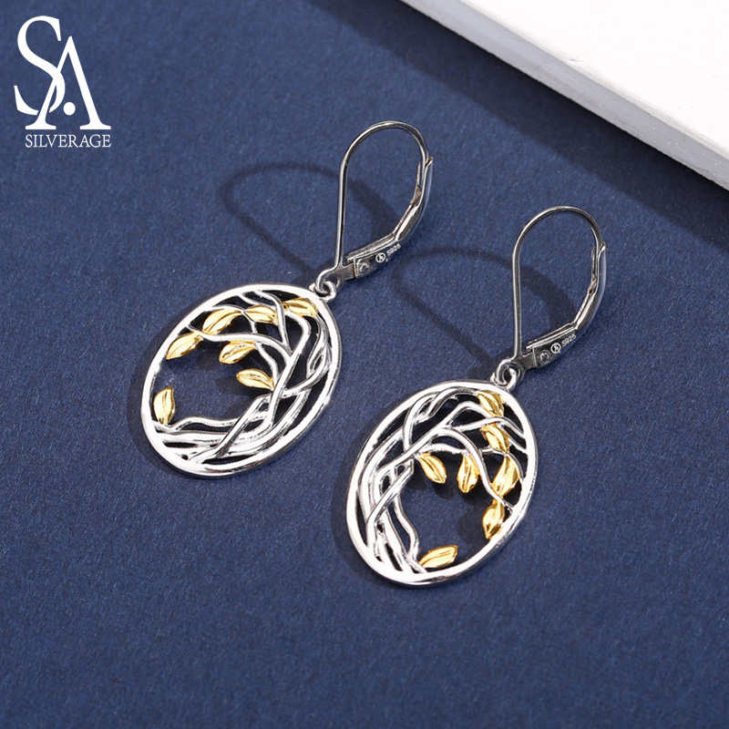SA SILVERAGE 925 Sterling Silver Tree Of Life Drop Earrings For Woman 925 Silver Long Women Earrings Yellow Gold Color Brincos