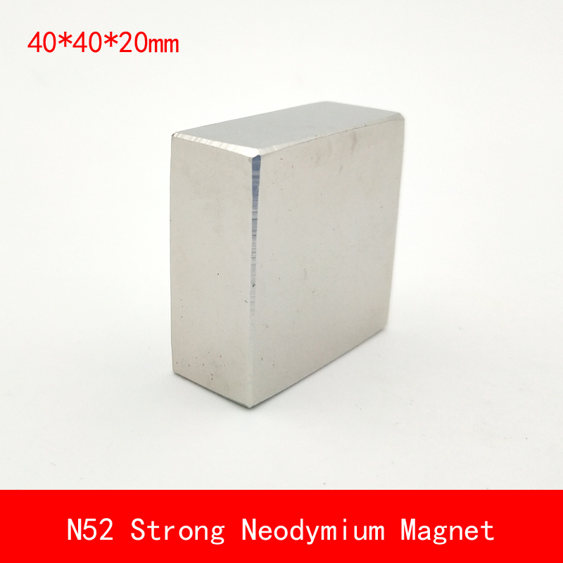 1PCS block 40x40x20mm N45 N52 Super Powerful Strong Rare Earth Block NdFeB Magnet Neodymium N52 Magnets 40*40*20mm