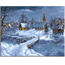 WEEN Snow Scenery-DIY Painting By Numbers kit for adults&kids,Hand painted Paint Number On Canvas, DIY Oil 40x50cm