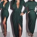 Estilo de Las Mujeres del verano Del Hombro Sexy Cuello En V Profundo Beach dress maxi largo vestidos de fiesta vestidos de noche de maternidad dress plus tamaño