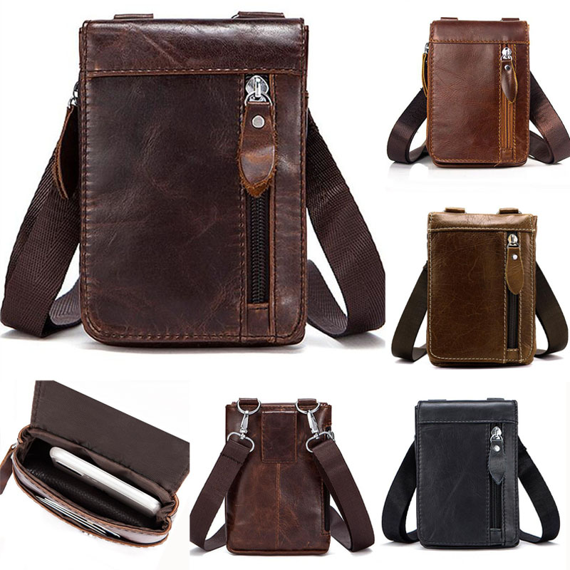 Retro Men First Layer Cowhide  Shoulder Bag  Fashion Small Crossbody Bag Belt Waist Fanny Pack Purse Pouch Cell Phone Case New