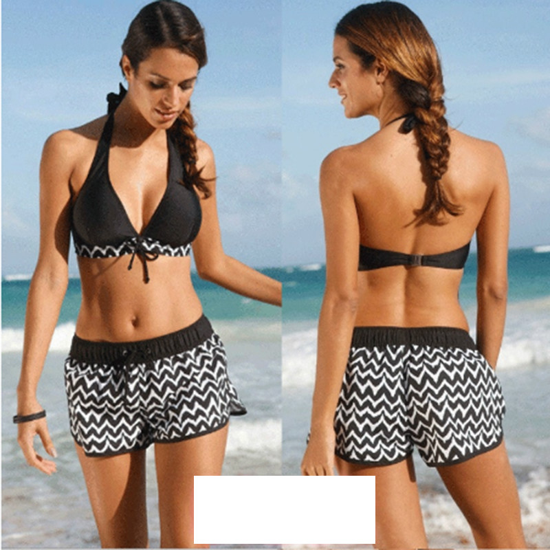 donne costume da bagno femminile costume da bagno push up bikini halter pantaloni corti pi