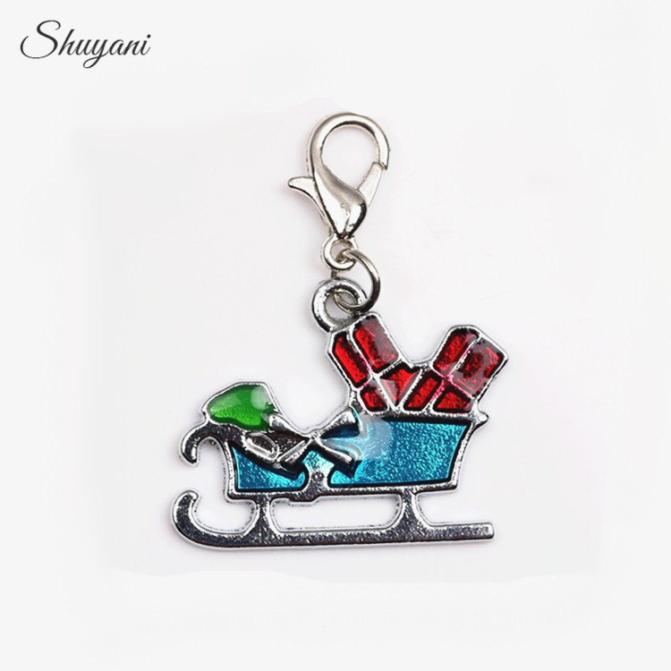 Christmas Gift 20pcs/lot Enamel Christmas Sleigh Charms For Living Glass Locket Pendant For Jewelry Making Home & Garden