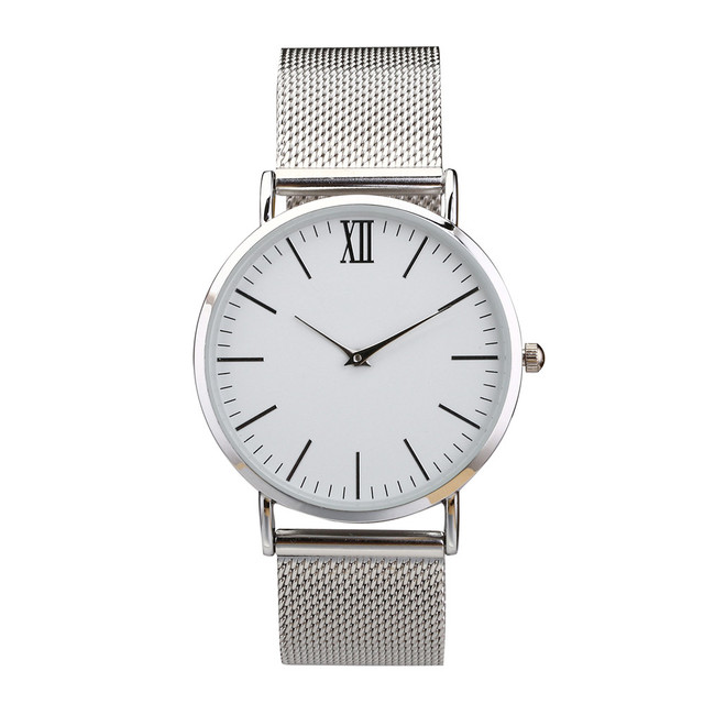 fashion silver watch stainless steel mesh strap