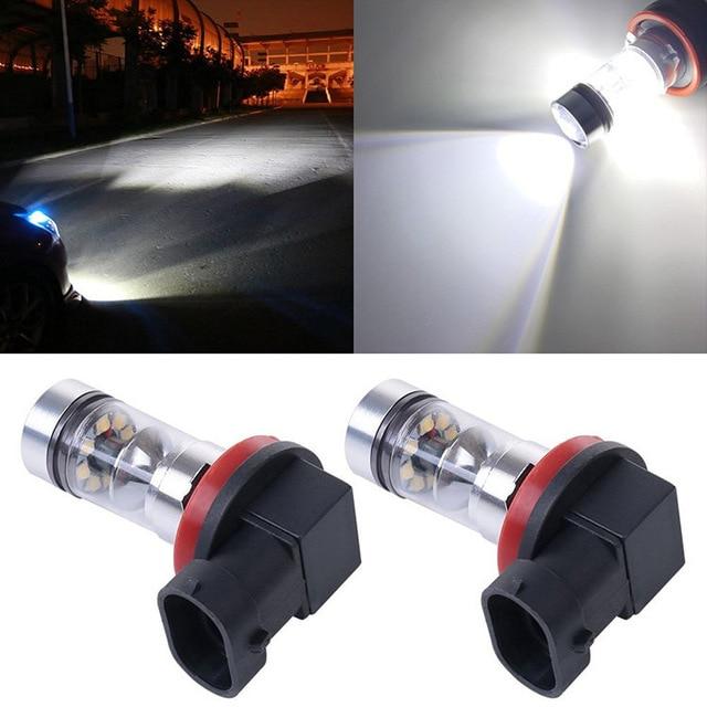 2PCS For Renault Megane 2 3 Fluence Koleos Latitude H8 H11 Car Fog Light Bulb Headlight DRL Daytime Traffic Light Driving Lights