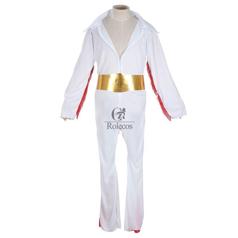 Klassieke Zanger Cat Koning Elvis Presley Cosplay Kostuum Wit Halloween Kostuum voor Mannen Volwassen