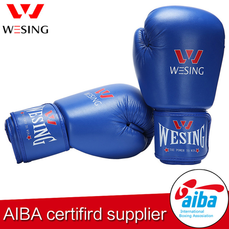Wesing AIBA Approved Boxing Gloves 12oz Competition MMA Training Muay Thai Kickboxing Sanda Boxer Gloves Red Blue jduanl muay thai boxing waist training belt mma sanda karate taekwondo guards brace chest trainer support fight protector deo