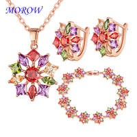 MOROW New 3 Pcs/Sets Colorful Cubic Zirconia Necklace Earrings Bracelets Sets for Bridal Engagement Wedding Jewelry Accessories