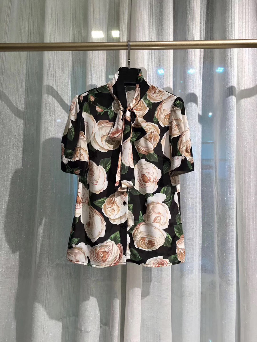Luxury Runway Fashion Silk Blouse 2019 Summer Top Quality Floral Blossom Print Short Sleeve Bow Tie Italy Fahsion Blouses Shirts in Blouses amp Shirts from Women 39 s Clothing