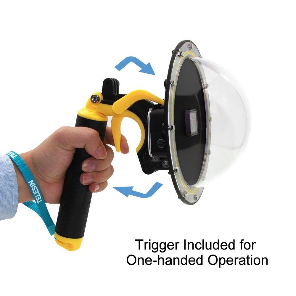 TELESIN Cupola Coperchio Della Porta Lente Custodia Galleggiante Maniglia Grip Bobber per GoPro Hero 5 6