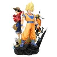 25 cm Bola de Dragón de fuerza de salto Z una pieza Naruto PVC figura de acción Luffy Son Goku figura de juguete Uzumaki Naruto modelo de juguete