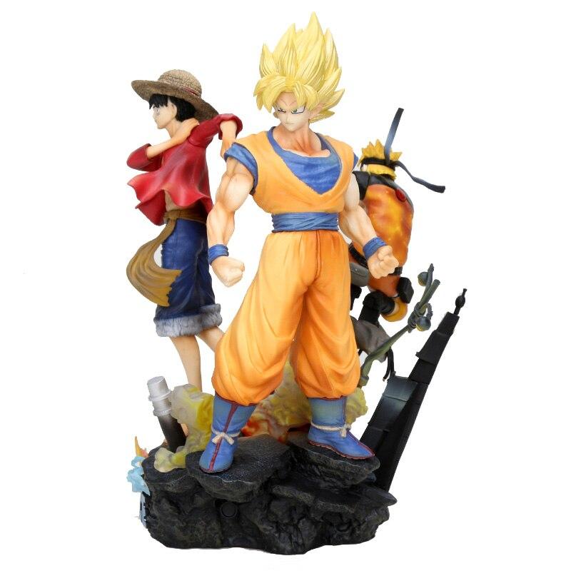 25 cm saut Force Dragon Ball Z une pièce Naruto PVC Figurine Luffy Son Goku Figurine jouet Uzumaki Naruto modèle jouet