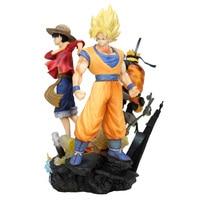 25cm Jump Force Dragon Ball Z ONE PIECE Naruto PVC Action Figure Luffy Son Goku Figurine Toy Uzumaki Naruto Model Toy