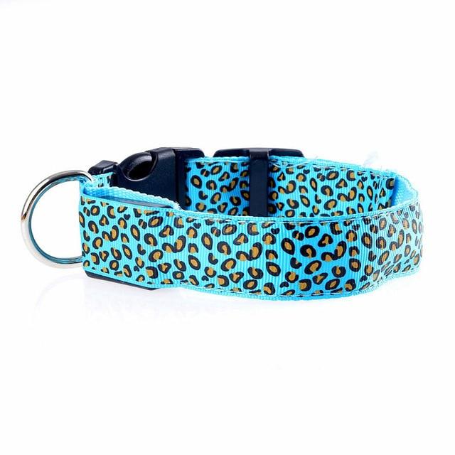 Adjustable LED Light Glow Pet Collar Leopard Nylon Pet Dog Cat Night Safety Luminous Flashing Necklace Glowing Neck Belt XWBE. 16