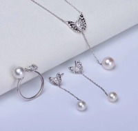 925 Sterling Silver Pearl Party Necklace Earrings Ring Set Findings Exquisite Jewelry Set Parts Fittings Women's Accessories