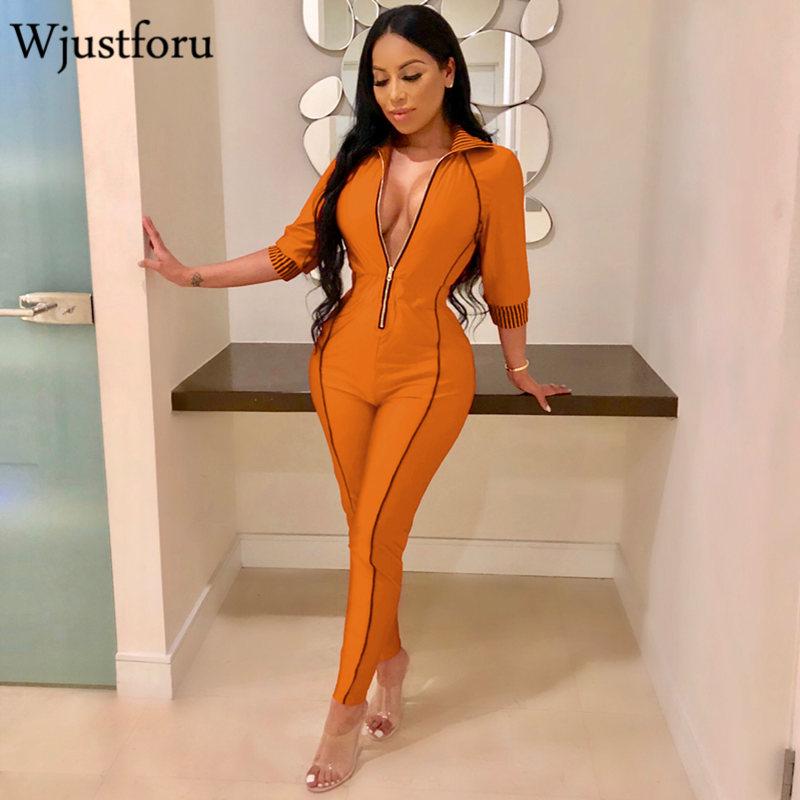 Wjustforu 5 Color Casual   Jumpsuit   Women New Fashion Zipper V Neck Sexy   Jumpsuit   Female Bodycon Elegant   Jumpsuit   Vestido Slim