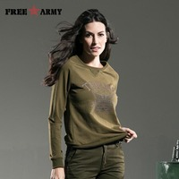 Free Army Brand 2015 Fashion Women Clothing Long Sleeve O Neck Solid Color Loose T