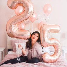 40inch Rose Gold Silver Gradient Number Foil Balloons Birthday Party Wedding Decorations Figure Balloon Supplies Globos