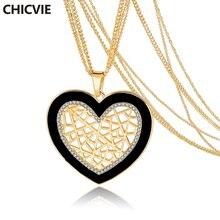 Chicvie ожерелья золотого цвета с кристаллами любовное сердце