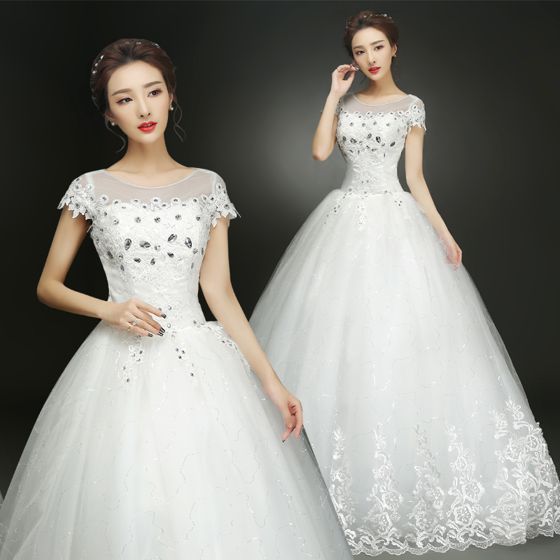 Fansmile Free Shipping Lace Up Short Sleeve Ball Wedding Dresses 2019 Real Photo Plus Size Vintage