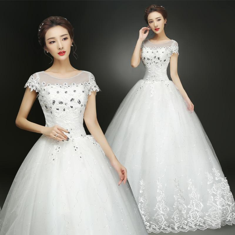 Fansmile Free Shipping Lace Up Short Sleeve Ball Wedding Dresses 2019 Real Photo Plus Size Vintage