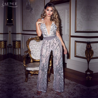 Adyce 2018 New Woman Jumpsuits Sexy V Neck Bodysuit Sequins Patchwork Mesh Sleeveless Celebrity Party Long Jumpsuit Freeshipping