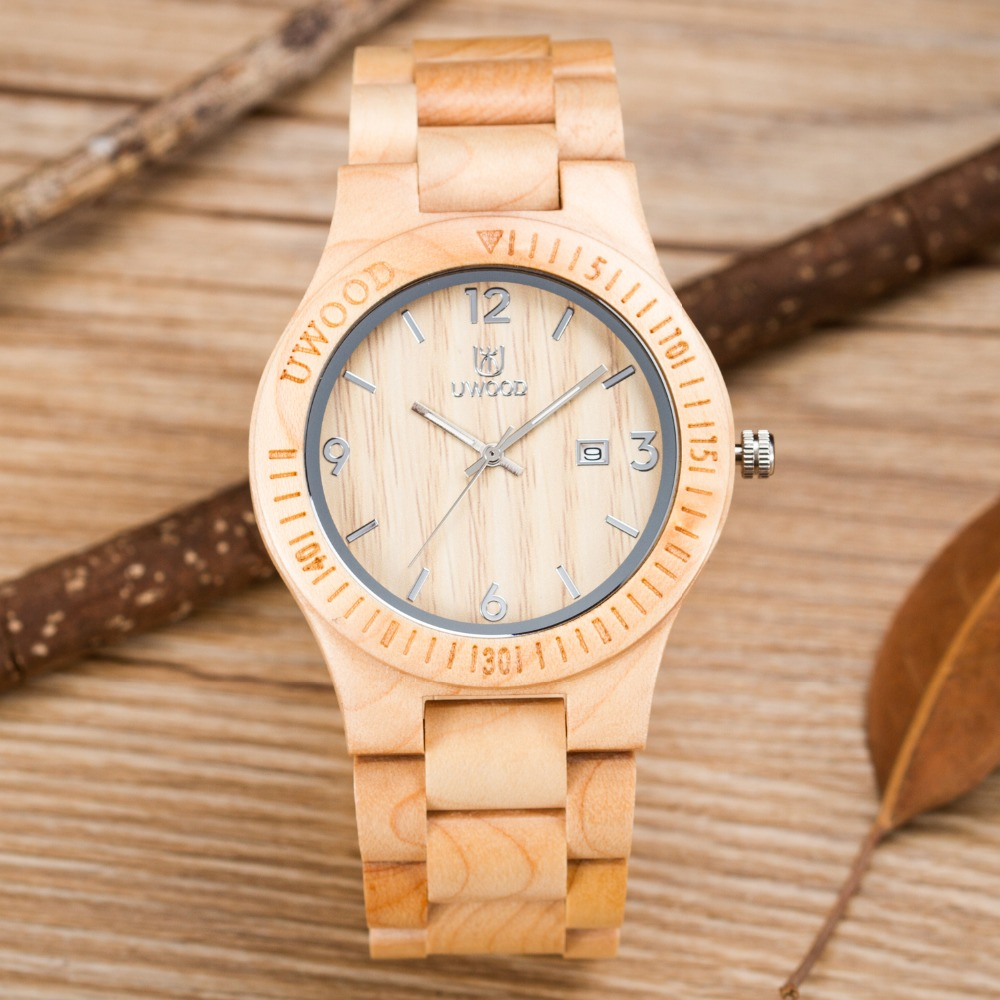 Luxury Brand Mens Wooden Watch Wood New Year Gift Bangle Quartz Watches with Calendar Display role men relogio masculino Relojes 80cm chain rome retro double display hollow pocket watch fob watches men necklace quartz watch men s watches grandpa letter gift