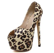 Size 4~9  Leopard Women Shoes Autumn Platform High Heels Shoes Peep Toe Women Pumps zapatos mujer (Check Foot Length)
