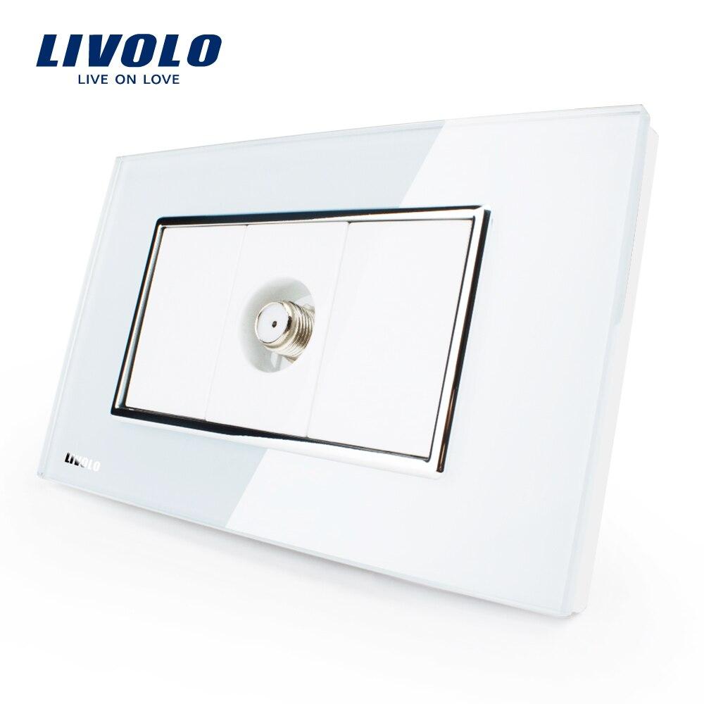 Livolo UNS Standard Satellite TV Steckdose, Weiß/Schwarz Kristall Glas, VL-C391ST-81/82