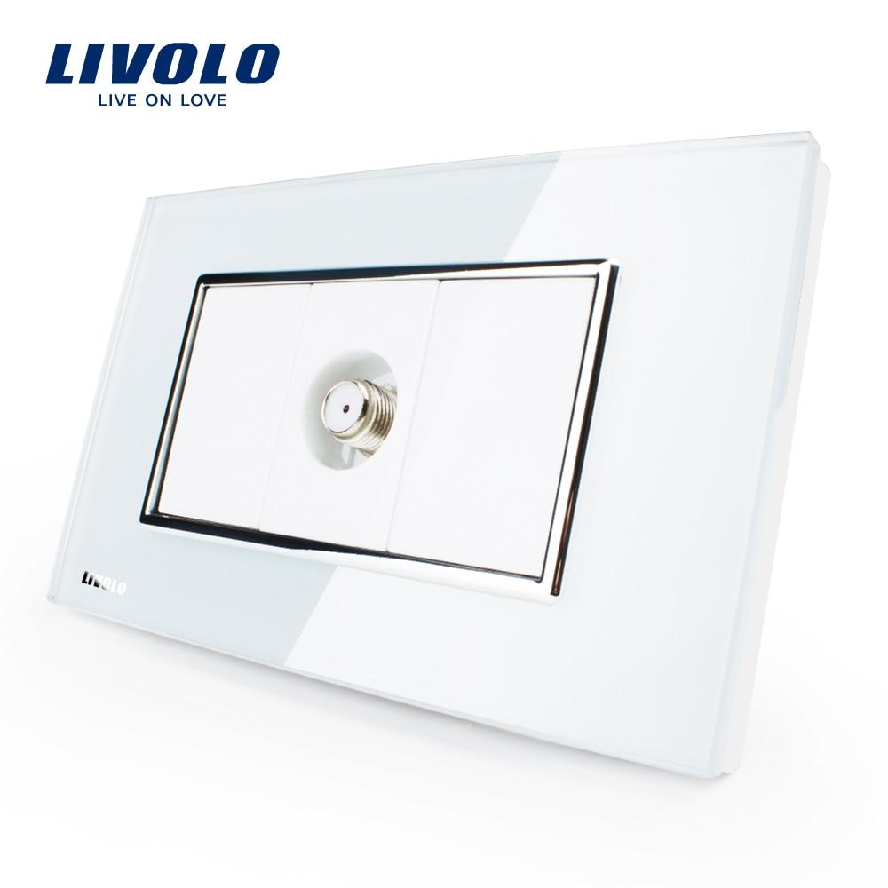 Livolo US TV vía satélite zócalo de energía, Blanco/Negro Cristal, VL-C391ST-81/82