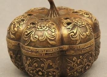"3""Chinese Folk Bronze Feng Shui Lucky Flower Pumpkin Incense Burner Censer"