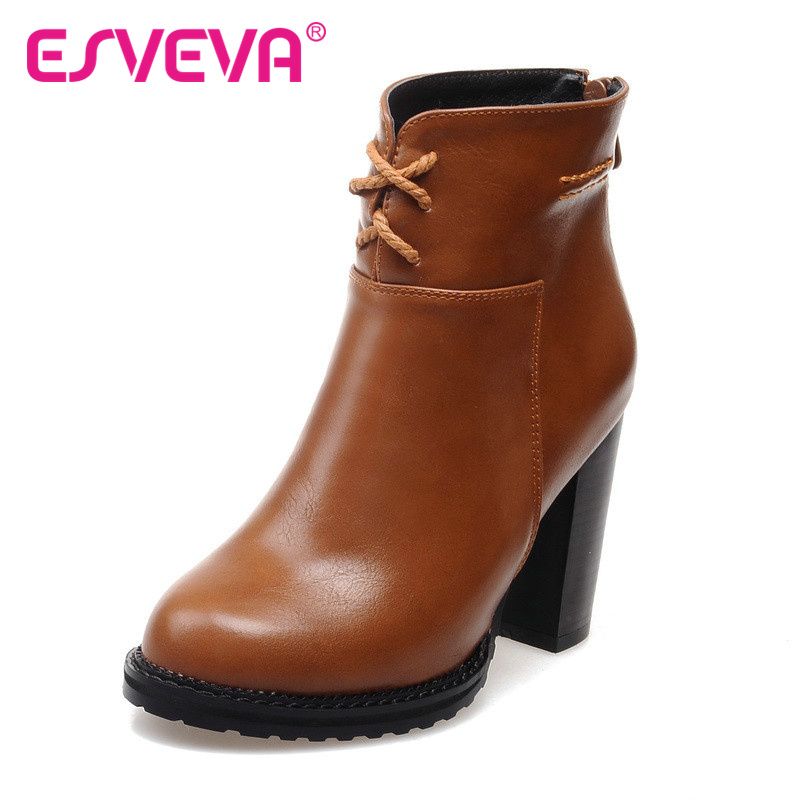 ФОТО ESVEVA  fashion PU leather ankle boots round toe square high-heel autumn spring women boots western style female shoes