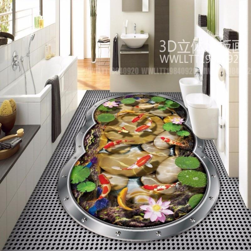 free shipping indoor fish tank 3d floor painting bathroom kitchen restaurant office decoration. Black Bedroom Furniture Sets. Home Design Ideas