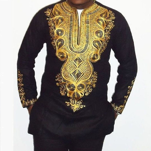 49ce34d24fc 2017 African national costume printing V- neck long sleeve T shirt long  men s T-shirt Embroidery Design Style african clothing