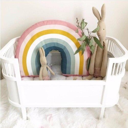 Nordic 25x35CM Rainbow Pillow Kids Rainbow Toys Soft Decorative Stuffed Cushion Cartoon Baby Pillow Decorate Nursery Room Decor