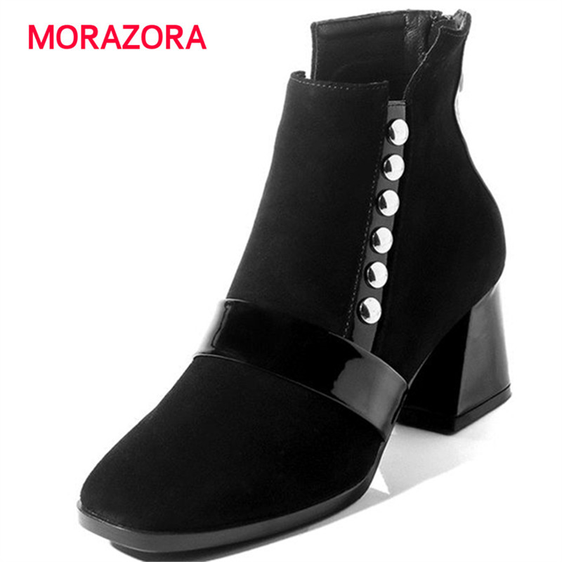 MORAZORA 2018 new fashion rivet high heel ankle boots for women square toe coe suede leather boots antumn winter hoof heel bootsMORAZORA 2018 new fashion rivet high heel ankle boots for women square toe coe suede leather boots antumn winter hoof heel boots