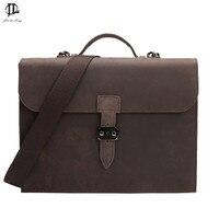 New Vintage Men Briefcase Business Handbag Men S Shoulder Bags Crazy Horse PU Leather Crossbody Laptop