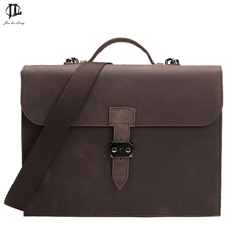 New Vintage Men Briefcase Business Handbag Men's Shoulder Bags Crazy Horse PU Leather Crossbody Laptop Bag Chocolate Male Bag