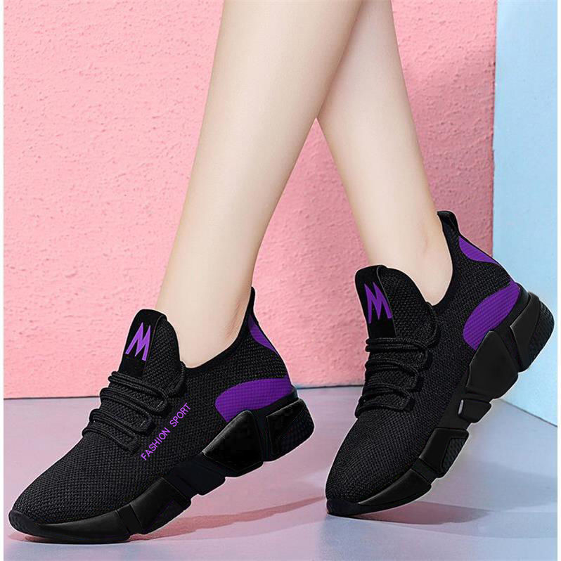 SZIE 35-40 2019 Spring New Women Casual Shoes Fashion Breathable Lightweight Walking Mesh Lace Up Flat Shoes Sneakers Women big toe sandal