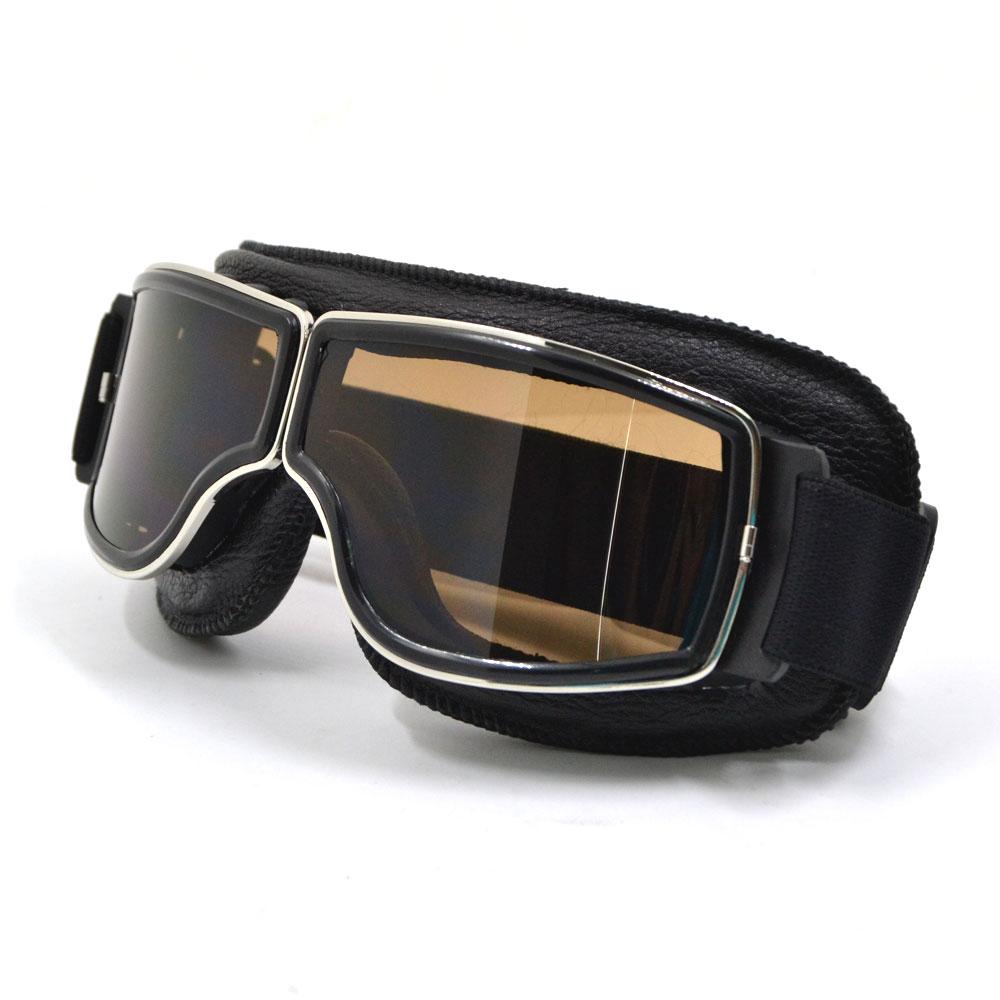 BJMOTO 2017 Vintage Faltbarer Silber Gestellbrille Brille Motorrad Helm Goggle Motorrad Sonnenbrille