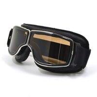2016 Vintage Universal Foldable Silver Frame Goggles Motorcycle Glasses Helmet Goggle Motorbike Sunglasses