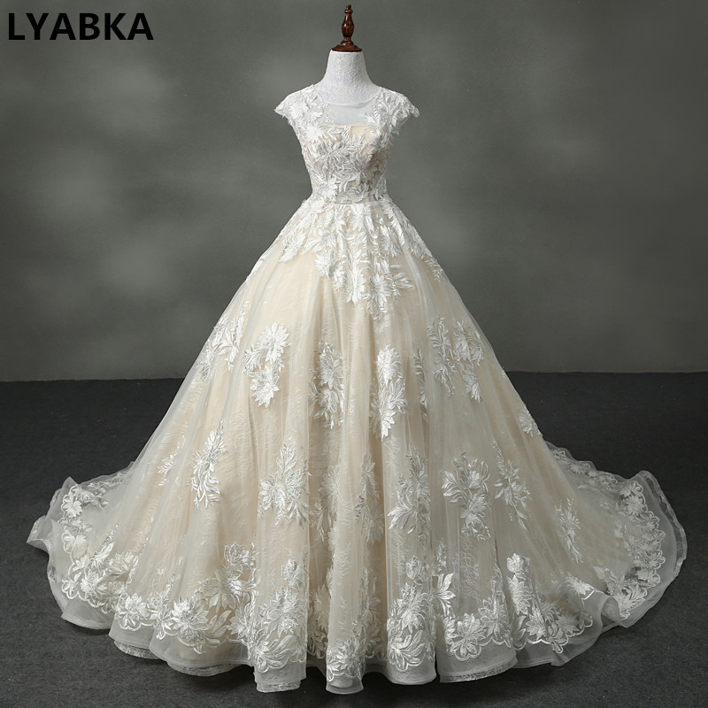 Sexy A-line Wedding Dress Real Photo Vestido De Noiva 2019 New Arrival Scoop Neck Tulle With Appliques Wedding Dresses Hand Made